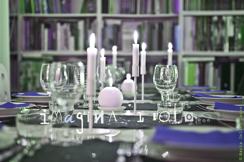 dinner table with wineglass and candles